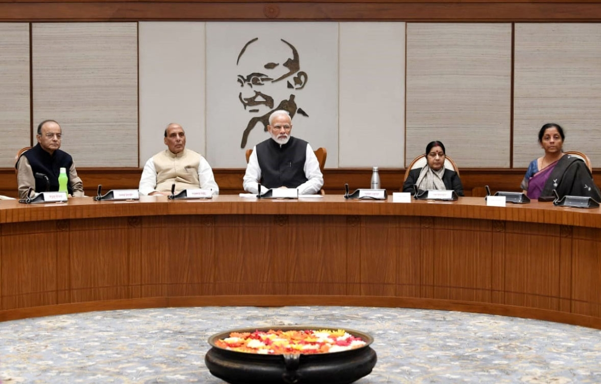 Prime Minister Narendra Modi chairs the meeting of the Cabinet Committee on Security,  in New Delhi, on Feb. 15, 2019. (Photograph: PIB)