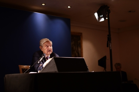 George Soros,  speaks at  the World Economic Forum  in Davos, Switzerland, on Jan. 24, 2019. (Photographer: Simon Dawson/Bloomberg)