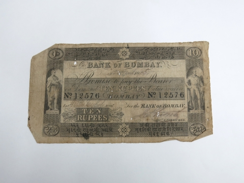 A 10 rupee Bank of Bombay note from 1861. (Photograph: Auckland Museum)