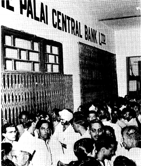 Panicky depositors at the Delhi branch of the Palai Central Bank. (Photograph: RBI)
