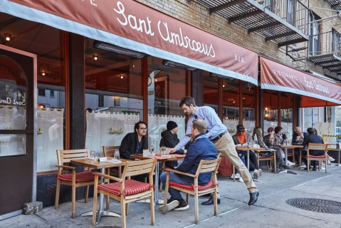 The elegant Milanese outpost, with prime sidewalk seating in SoHo (bottom), serves everything from cocktails to pastries and slider-sized sandwiches.