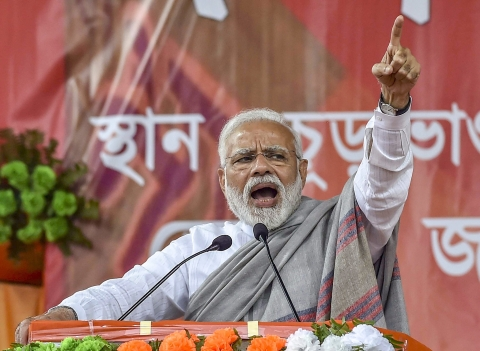 Prime Minister Narendra Modi addresses a rally in Jalpaiguri district of West Bengal, on Feb. 8, 2019. (Photograph: PTI)