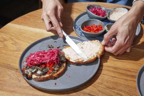 The making of West-Bourne's signature, vegetarian take on the Reuben.