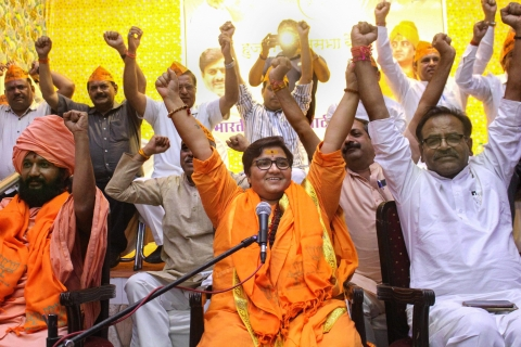 BJP candidate Sadhvi Pragya Singh at party workers' meeting  in Bhopal, on April 18, 2019. (Photograph: PTI)