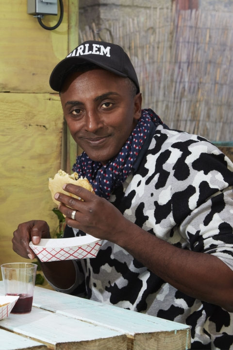 Chef Marcus Samuelsson takes a taste-trip to the Caribbean with Lolo's Shark & Bake, topped with a hefty squeeze of tangy salsa verde.