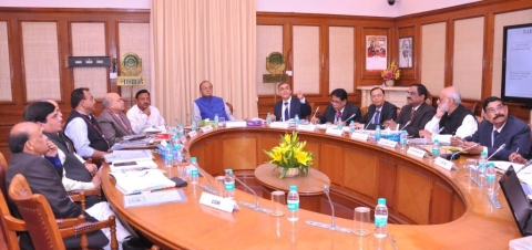 Finance Minister Arun Jaitley chairing the NABARD board meeting in New Delhi, on Feb. 26, 2018. (Photograph: Arun Jaitley/Twitter)