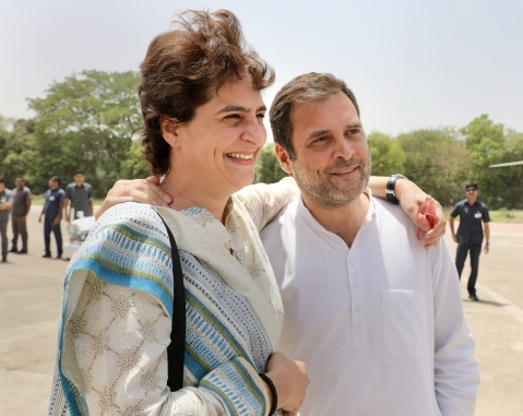Priyanka Gandhi meets brother and Congress chief Rahul Gandhi during her campaign trail. (Source: PTI)