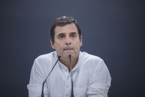 Rahul Gandhi, president of the Congress Party,conceding defeat at the party's headquarters in New Delhi, on Thursday, May 23, 2019. (Photographer: Prashanth Vishwanathan/Bloomberg)