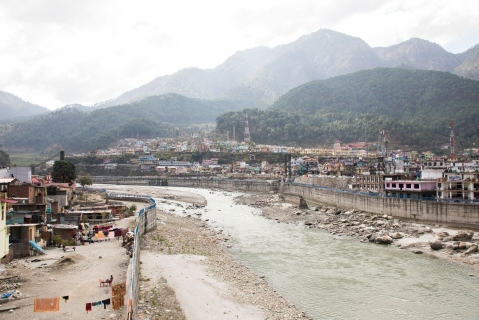 In Bhatwari, drains and canals empty directly into the river.  (Photographer: Anshika Varma for Bloomberg Businessweek)