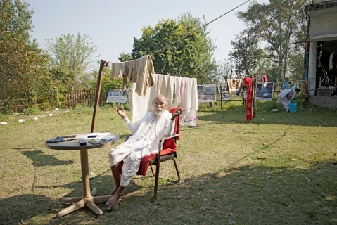 Swami Shivanand Saraswati, founder of the Matri Sadan ashram in Haridwar.  (Photographer: Anshika Varma for Bloomberg Businessweek)