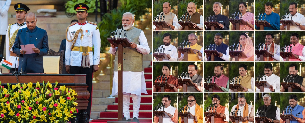 The 24 cabinet ministers being administered their oaths. (Source: PTI)