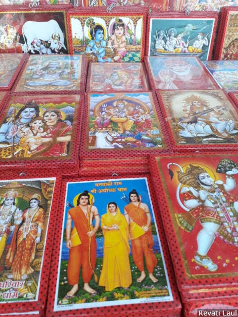 Articles of worship and pictures of Gods--some of them depicting the stills from the television series on the Ramayana that aired in 1987-88 on state-run Doordarshan TV--on display in stores outside the shrine at Ayodhya.