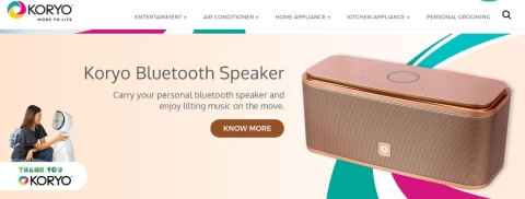Future Retail's Koryo sells private label bluetooth speakers as well. (Image: Screengrab from Koryo website)