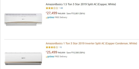 AmazonBasics air conditioners retail on amazon.com. (Image: Screengrab from Amazon website)