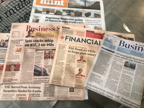 Business newspapers on May 1, 2019. (Photograph: BloombergQuint)