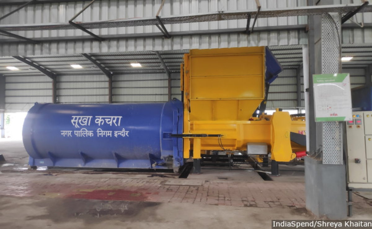 Indore has 10 transfer stations, such as the one pictured above, where the garbage is weighed, segregation is ensured, and then sent onward for processing at the central facility.