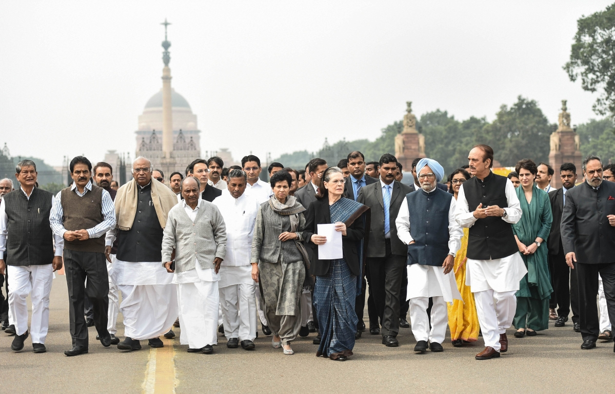 A Congress delegation, led by party chief Sonia Gandhi after meeting President Ram Nath Kovind at Rashtrapati Bhawan in New Delhi, India, on Thursday, Feb. 27, 2020. (Photo: PTI)