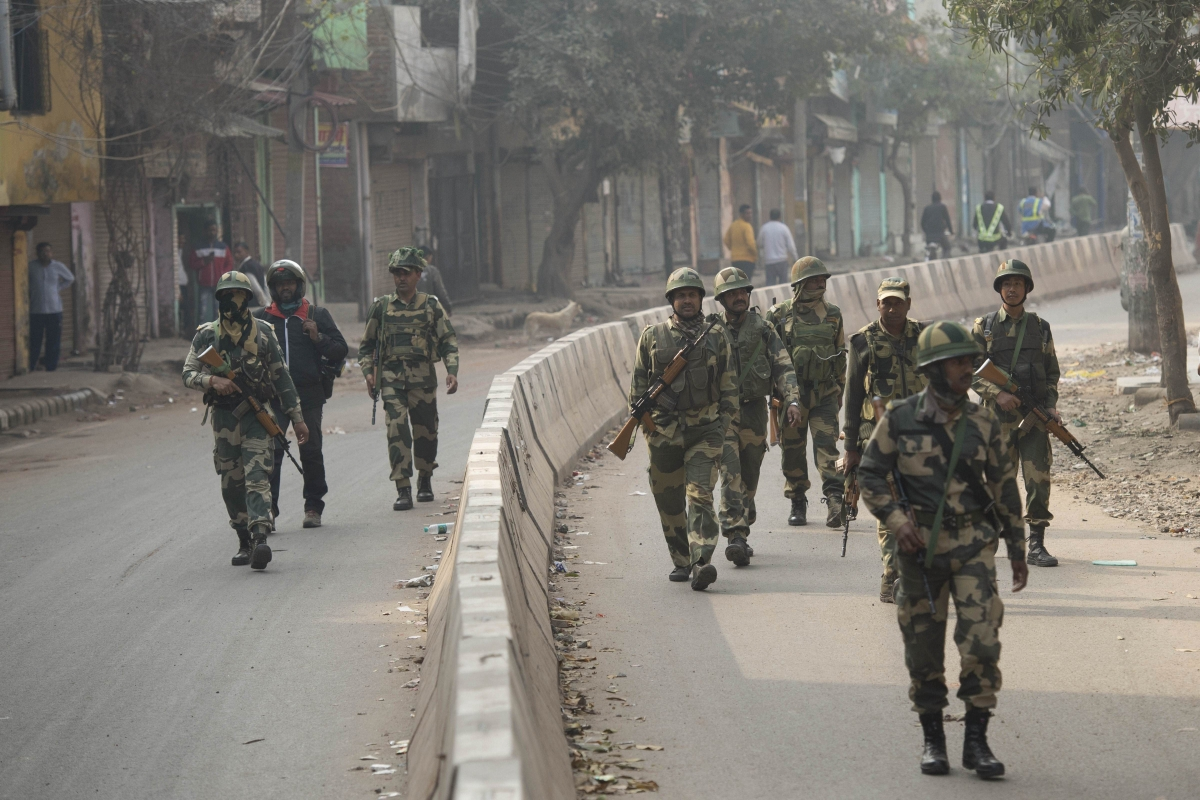 Security personnel patrol the streets in Yamuna Vihar area of northeast Delhi on Thursday, Feb. 27, 2020. (Photo: PTI)