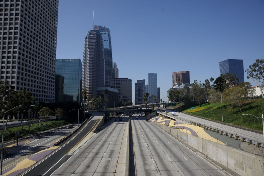 The usually busy 110 freeway on April 1. (Photographer: Patrick T. Fallon/Bloomberg)