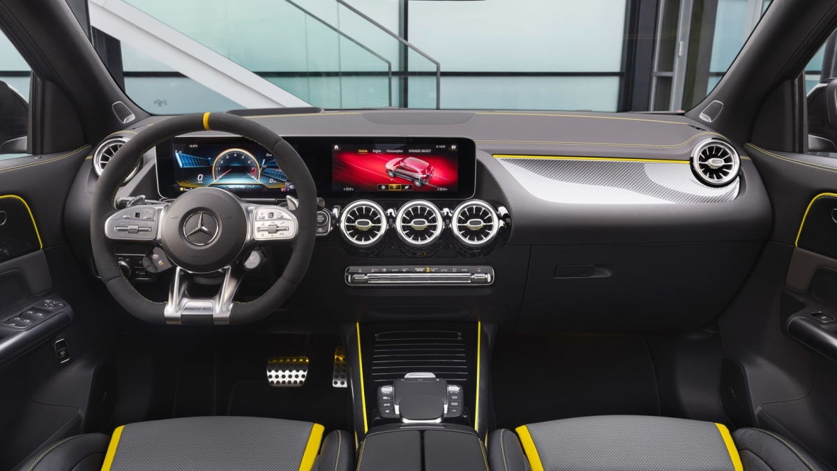 Inside, Mercedes' MBUX infotainment system GLA