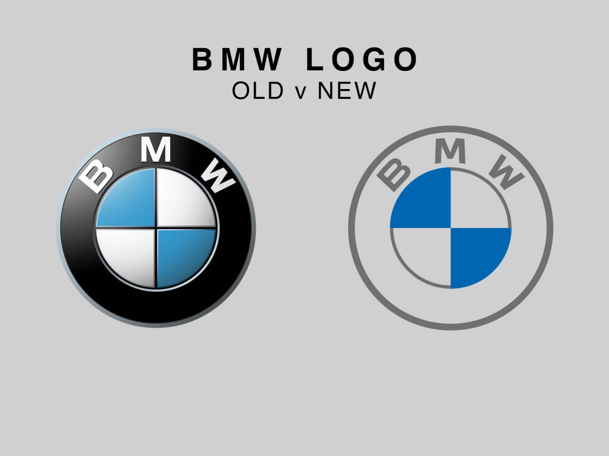 You can easily see how the new BMW logo is 'flatter' than the old one