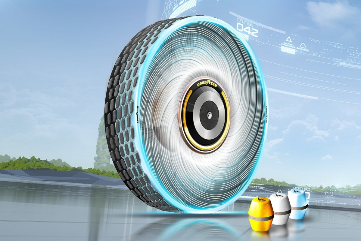 Goodyear showcase a concept self-repairing tyre