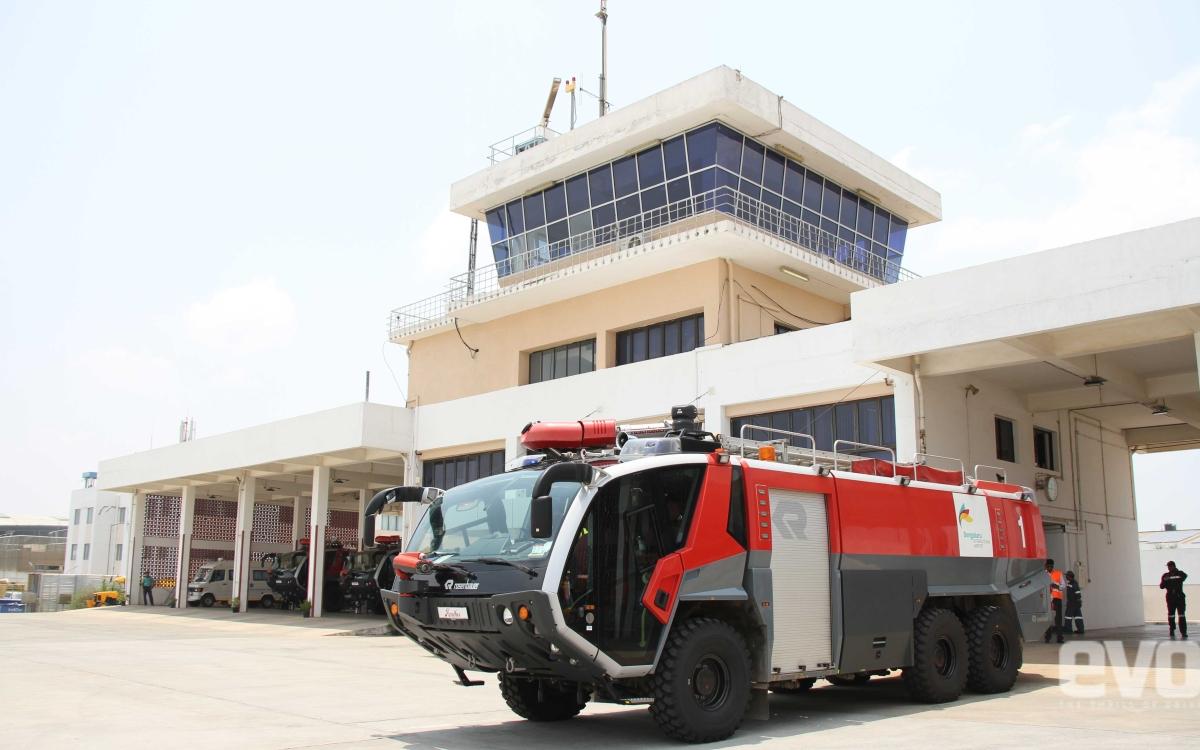 Rosenbauer fire truck demo at Bengaluru airport mock drill