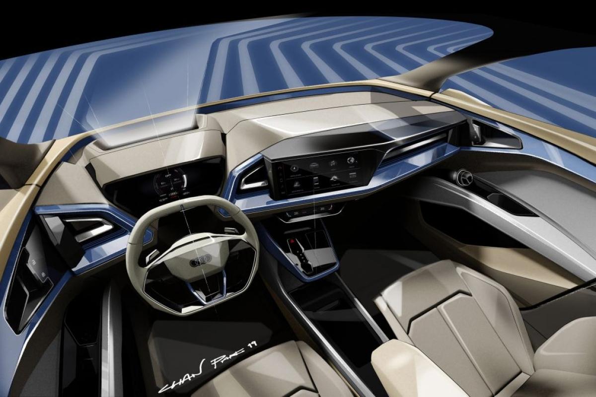 Audi Q4 e-tron – sketches preview Geneva concept