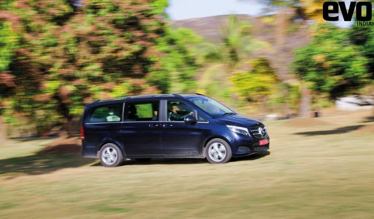 A Mercedes-Benz V-Class makes for the most lavish support car we've had yet.