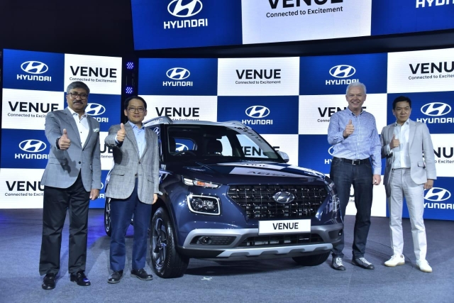 (L-R) Vikas Jain, national sales head, Hyundai Motor India Limited, SS Kim, MD & CEO, Hyundai Motor India Ltd, Albert Biermann, president, head of R&D Division, Hyundai Motor Company and SY Lee, senior vice president, head of Hyundai Global Design centre,