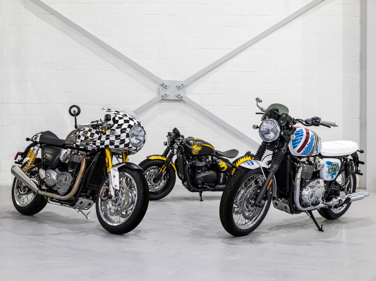 Triumph collaborates with British artist D*Face to create three custom Modern Classics