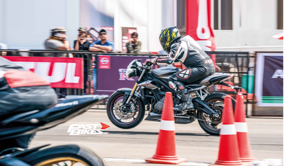 Drag race with the new Triumph Street Triple RS at Valley Run 2018