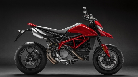 Ducati Hypermotard 950 with twin under-seat exhausts reminiscent of the Original Hypermotard 1100