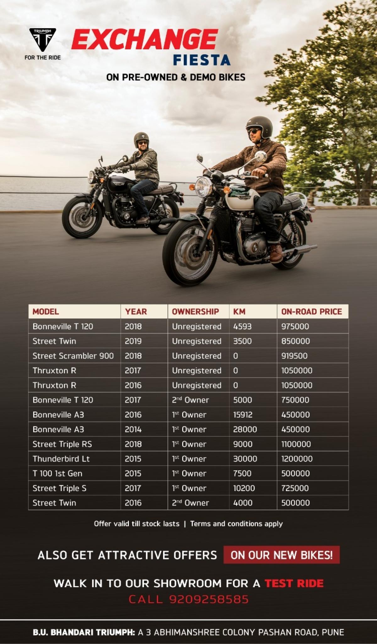 Triumph Pune dealership offering discounts on demo bikes