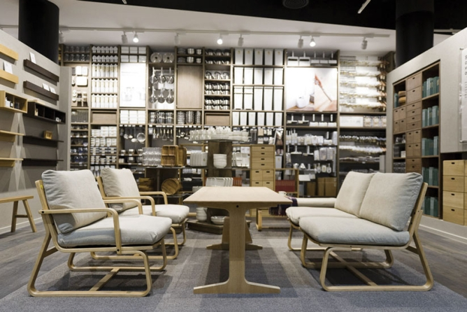 Furniture collection at a MUJI store