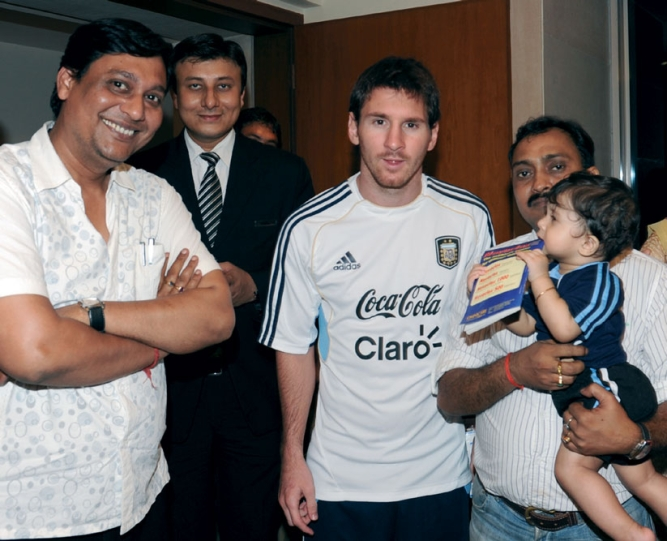 With Lionel Messi; Messi in action at Kolkata's Yuba Bharati Krirangan.