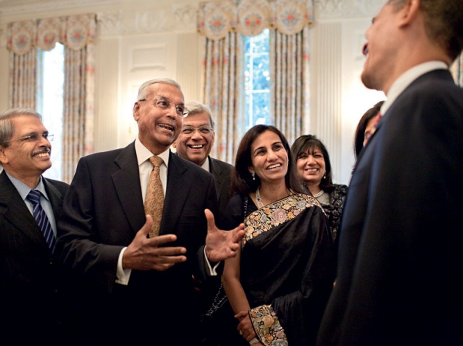 The president meets India's business leaders.