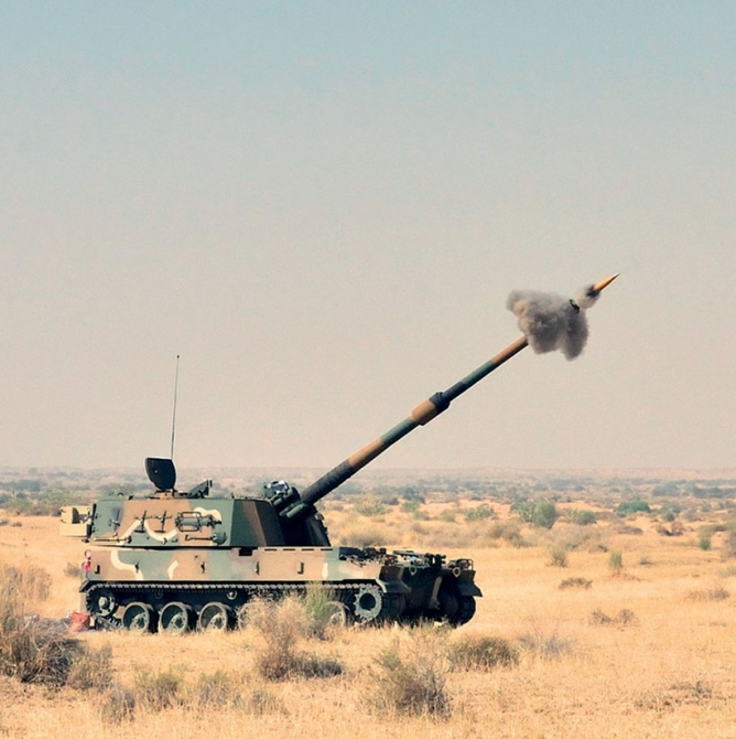 Pinaka multibarrel artillery rocketlaunch system