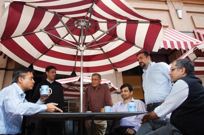 Key hands in Team Nexus:(From left) Sandeep Singhal, Anup Gupta, Naren Gupta,<br /> Jishnu Bhattacharjee, Sameer Brij Verma, and Suvir Sujan