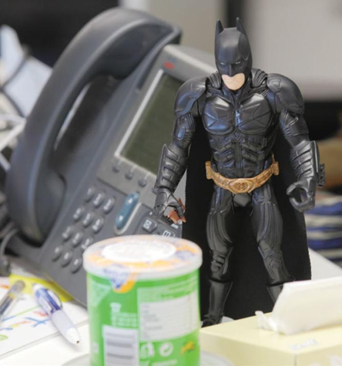 A Batman figurine.