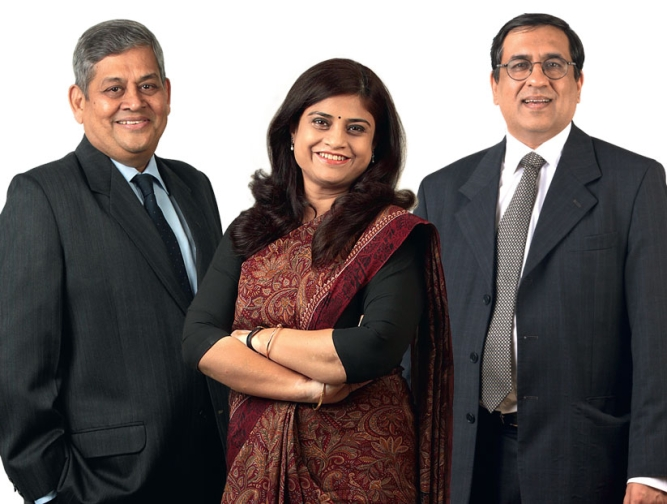 FROM LEFT: Kishor Chaukar, MD, Tata Industries, Suvalaxmi Chakraborty, CEO, State Bank of Mauritius' India operations, Amit Tandon, MD, Fitch Ratings India.