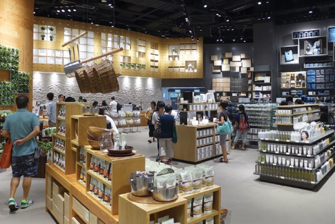 A MUJI store selling kitchenware and health and beauty products