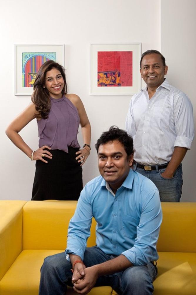 Mydala CEO Anisha Singh, CFO Arjun Basu (seated), CTO Ashish Bhatnagar