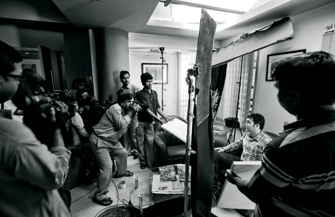 Over time, Tollywood became not only the state's biggest cultural landmark, but also one of its most secular employers. (Here, the shoot of an upcoming film, Prime Time, at Kolkata's Shree Narayan Studios.)
