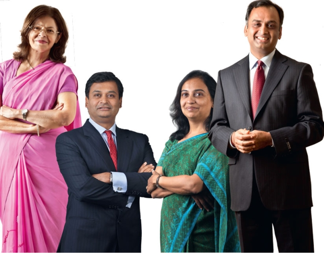 FROM LEFT: Kalpana Morparia, CEO, J.P. Morgan India, Ajay Srinivasan, CEO, financial services, Aditya Birla group, Vedika Bhandarkar, MD and vice chairman, Credit Suisse Securities India, Amitabh Chaturvedi, CEO and MD, Dhanlaxmi Bank.