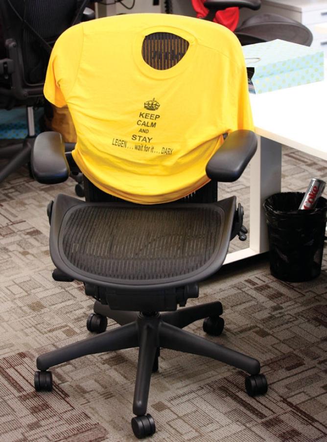 An office chair dons a T-shirt