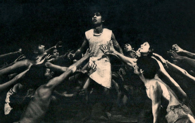 IN FRON OF THE CAMERA:THEN: Basu performing on stage with the Theatre Action Group.