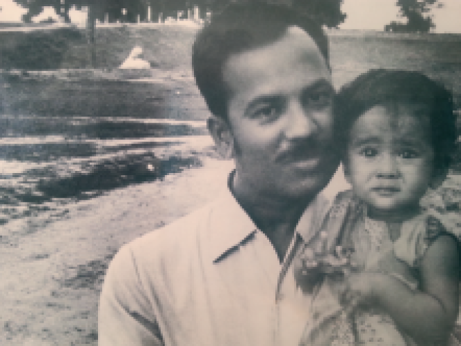 With her father, Nilamani Mohanty.<br />