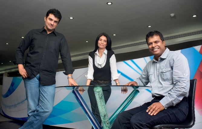 SCREWVALA'S TROIKA: (From left) Siddharth Roy Kapur, Zarina Mehta, and M.K. Anand