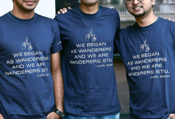 MADE OF STAR-STUFF: Like all space obsessed people, the youngsters atTeam Indus idolise Carl Sagan. Enough to put him on their T-shirts. Photo by Bandeep Singh
